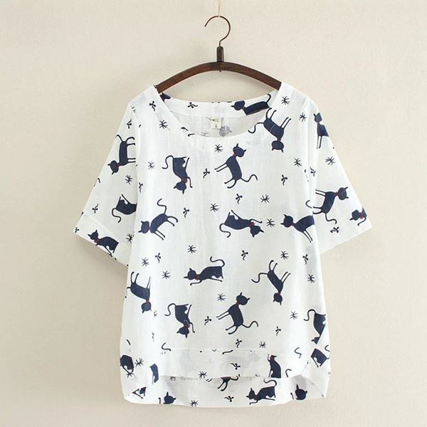 صورة Woman Cat T-Shirt